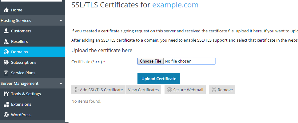 Select Add SSL/TLS Certificate