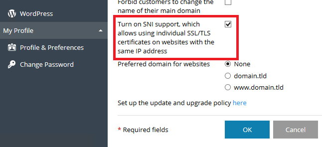 Unable to install a certificate for a domain: SSL/TLS