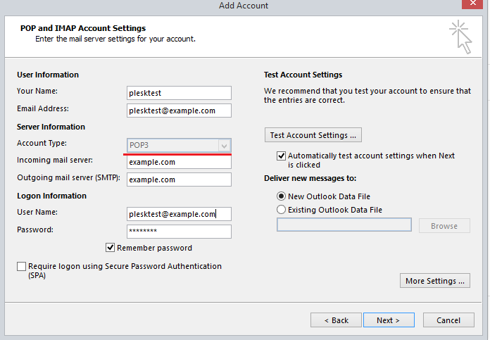 Cannot set up IMAP account in Outlook: client didn't finish SASL