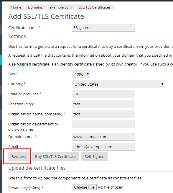 How to generate certificate signing request (CSR) for a domain in ...