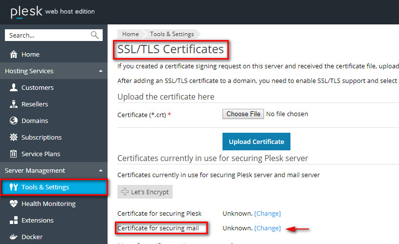 Incorrect certificate used for mail client – Plesk Help Center