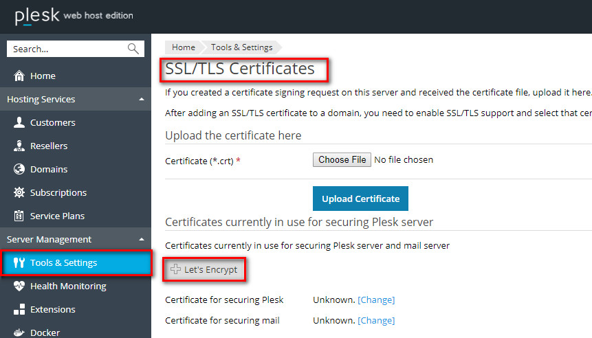 Incorrect certificate used for mail client plesk help center go to the home tools settings ssltls certificates lets encrypt m4hsunfo