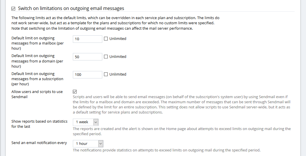 How to set limitations on outgoing email messages in plesk plesk to manage limitations on outgoing email messages first enable the option switch on limitations on outgoing email messages at tools settings mail server m4hsunfo