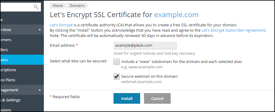 How to secure webmail using Let's Encrypt in Plesk Onyx