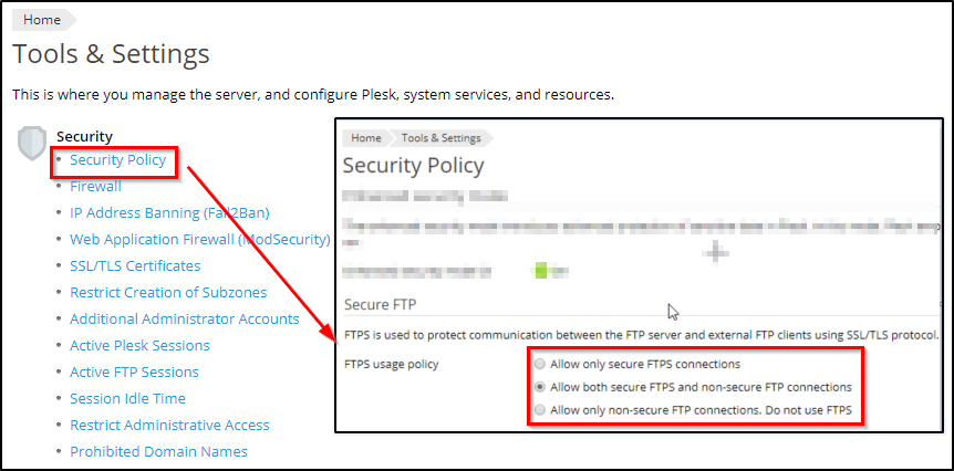 How to secure FTP (FTPS) in Plesk for Linux – Plesk Help Center