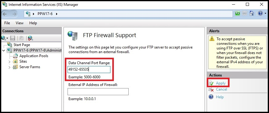 Setting the passive FTP port range