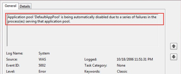 Application pool stops randomly within in a specified time