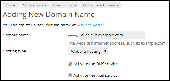 How To Add An Alias To Subdomain Plesk Help Center