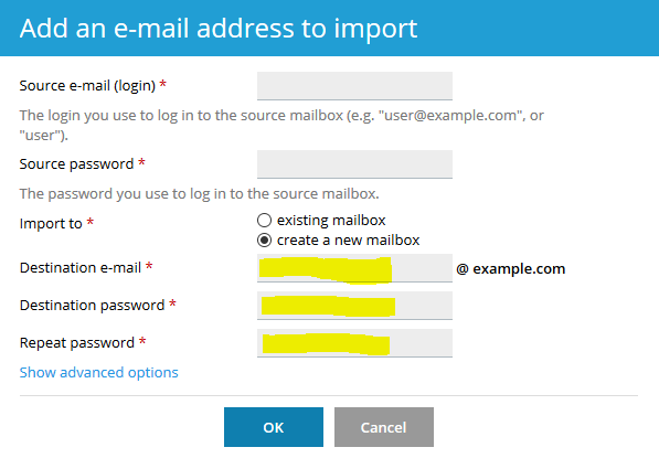 Specify the email and password of the source mailbox