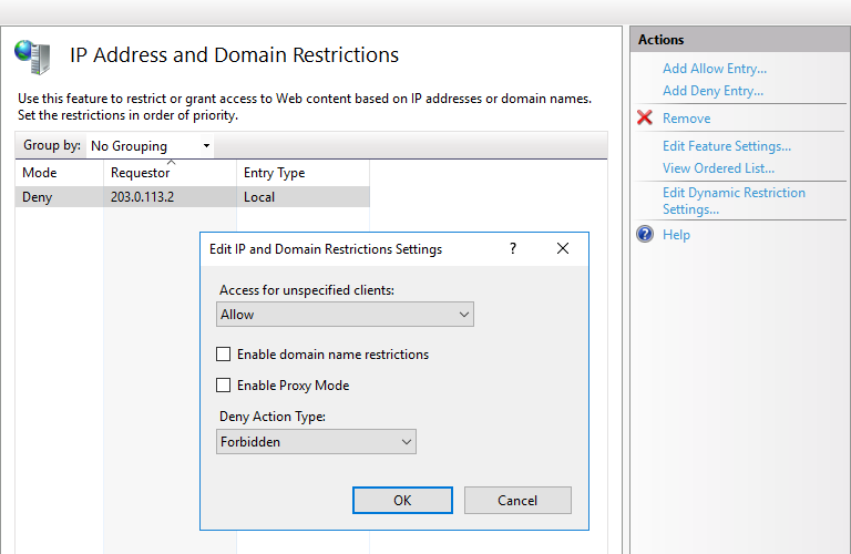 How to allow/restrict connections from an IP address to a website in