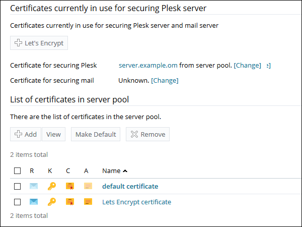 How to secure a Plesk hostname on port 8443 with an SSL
