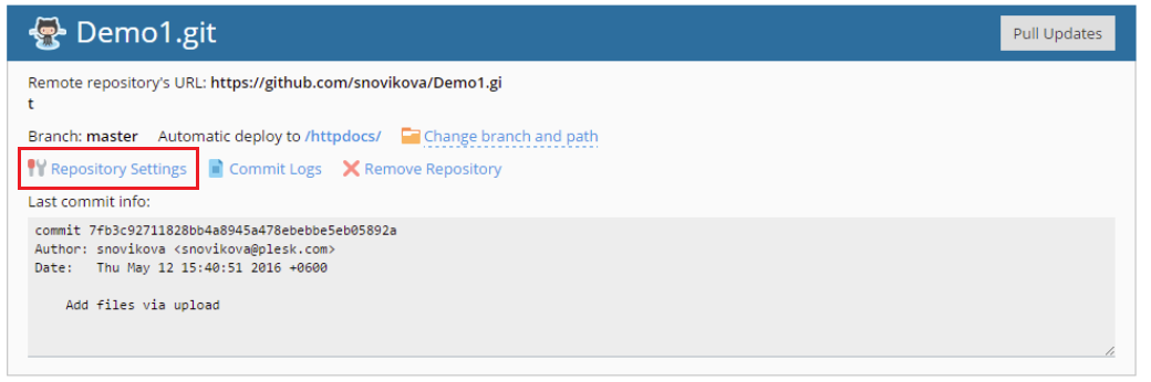 How to configure webhook for remote Git repository in Plesk