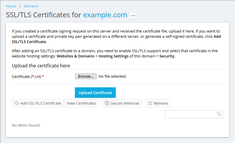 How to install an SSL certificate for a domain in Plesk