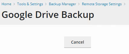 Google Drive Backup shows Cancel button only.